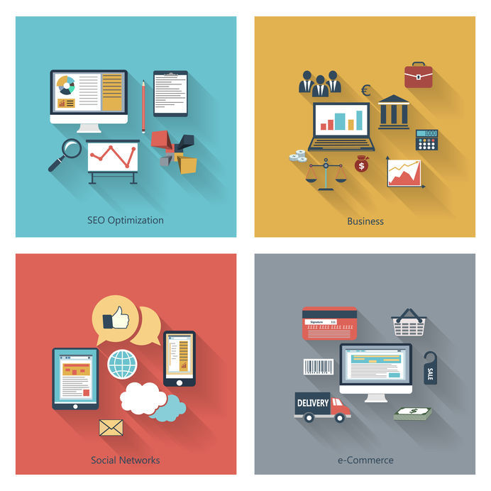 Various icons arranged to represent SEO, Business, Social Networks and e-Commerce